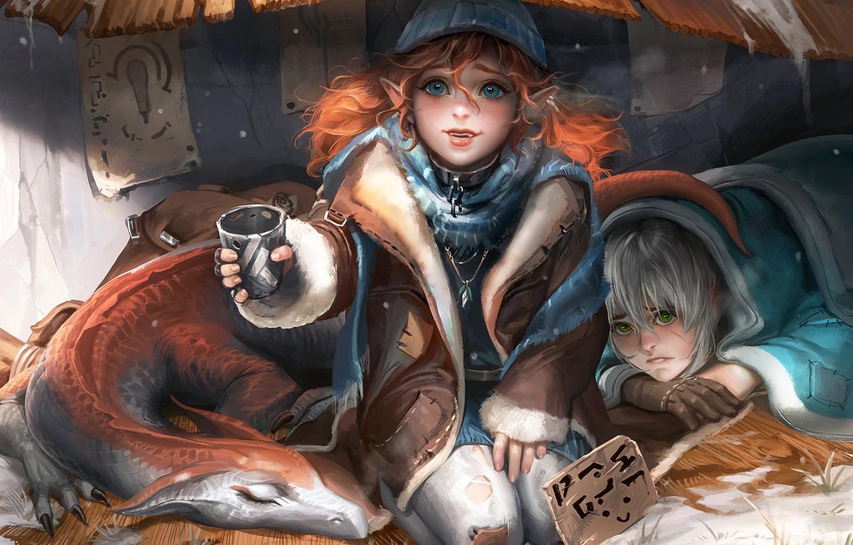 Фото обои fantasy, green eyes, girls, blue eyes, winter, redhead, dragon, artist, elf, digital art, artwork, fantasy …