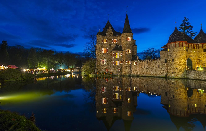 Фото обои огни, замок, вечер, Германия, Burg Satzvey, Мехерних