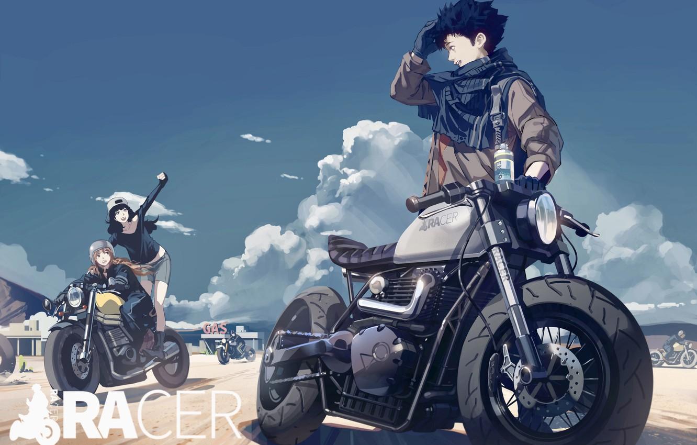 Фото обои девушки, байкеры, мотоциклы, парень