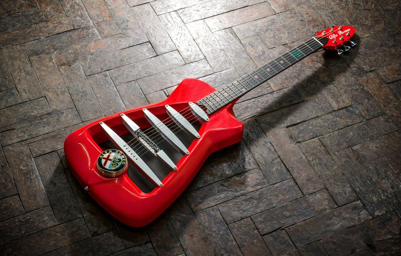 Фото обои красный, дизайн, фон, Англия, гитара, логотип, паркет, Италия, Британия, старый, Alfa Romeo, эмблема, limited, limited ...