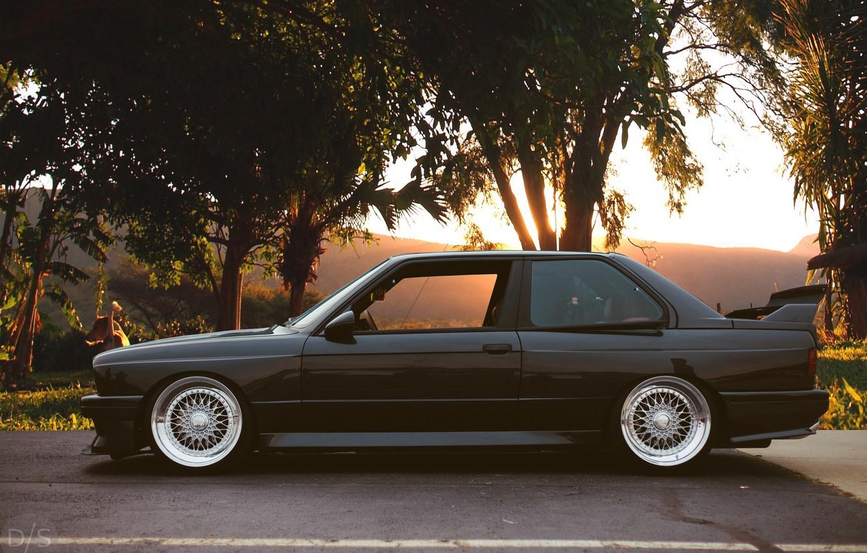 Фото обои Black, Stance, BMW E30 M3