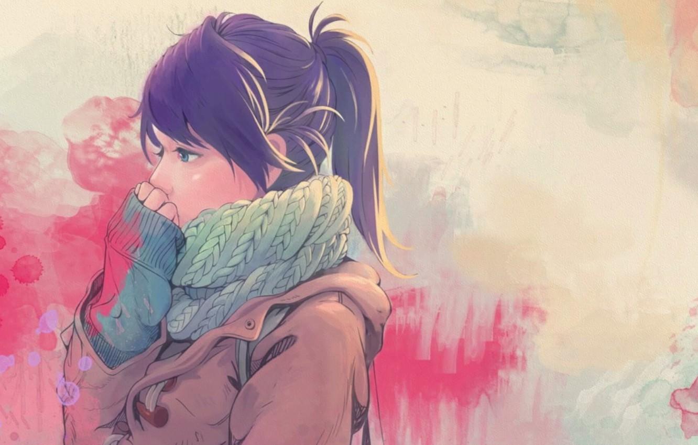 Фото обои холод, осень, девушка, арт