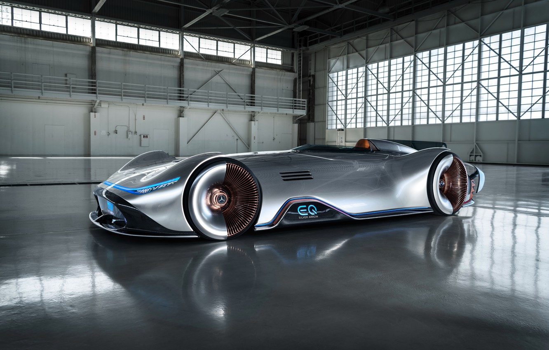 Фото обои концепт-кар, серебрянная стрела, Mercedes-Benz EQ Silver Arrow, электро автомобиль