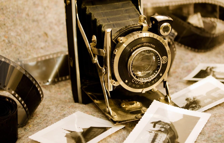 Фото обои фото, фотоаппарат, черно-белое, старинный