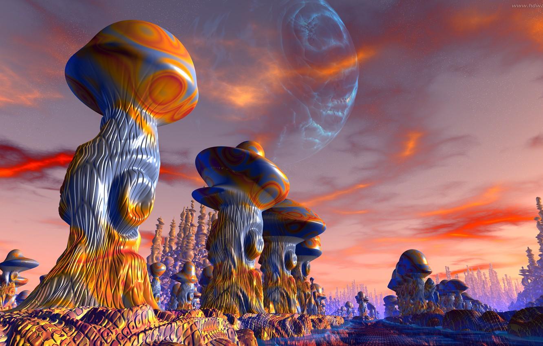 Фото обои дорога, скалы, грибы, road, rocks, иные миры, mushrooms, красные облака, other worlds, 3D graphics, огромная …