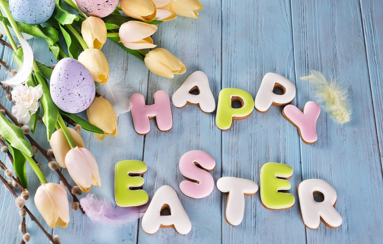 Фото обои цветы, яйца, Пасха, happy, flowers, tulips, eggs, easter, cookies, decoration