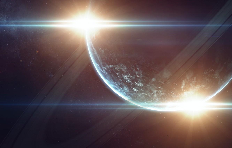 Фото обои Звезды, Планета, Космос, Звезда, Кольцо, Star, Арт, Stars, Space, Блик, Art, Кольца, Planet, Rings, Ring, …