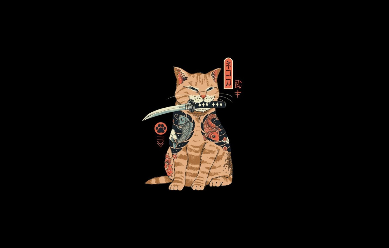 Фото обои minimalism, katana, Cat, samurai, ninja, digital art, artwork, black background, fantasy art, simple background, dagger