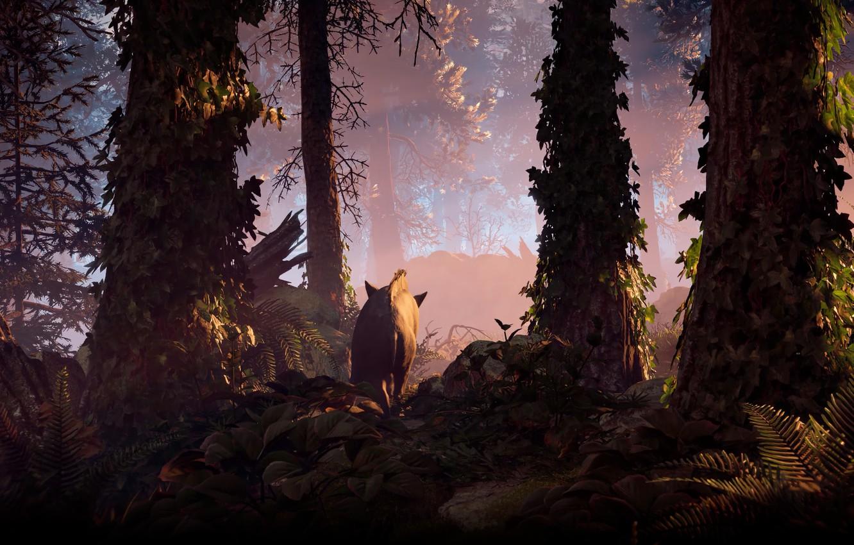 Фото обои Небо, Девушка, Горы, Робот, Деревья, Лук, Horizon, Охотник, Sony Computer Entertainment, Guerrilla Games, Horizon: Zero …