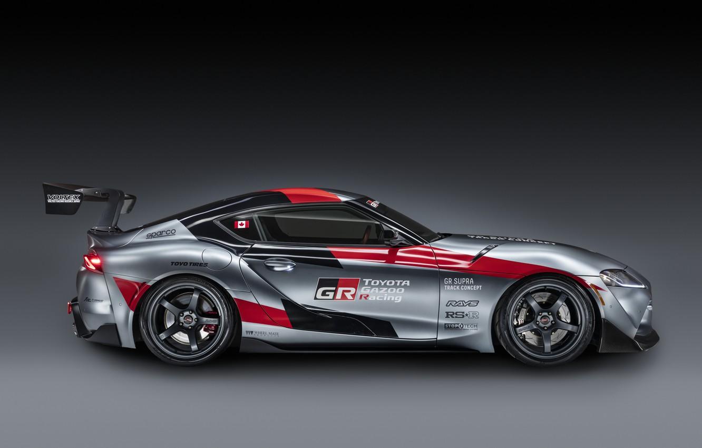 Фото обои серый, фон, купе, Toyota, вид сбоку, 2020, GR Supra Track Concept