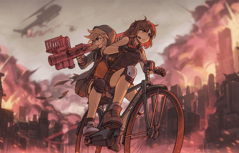 Фото обои велосипед, девушки, пушка