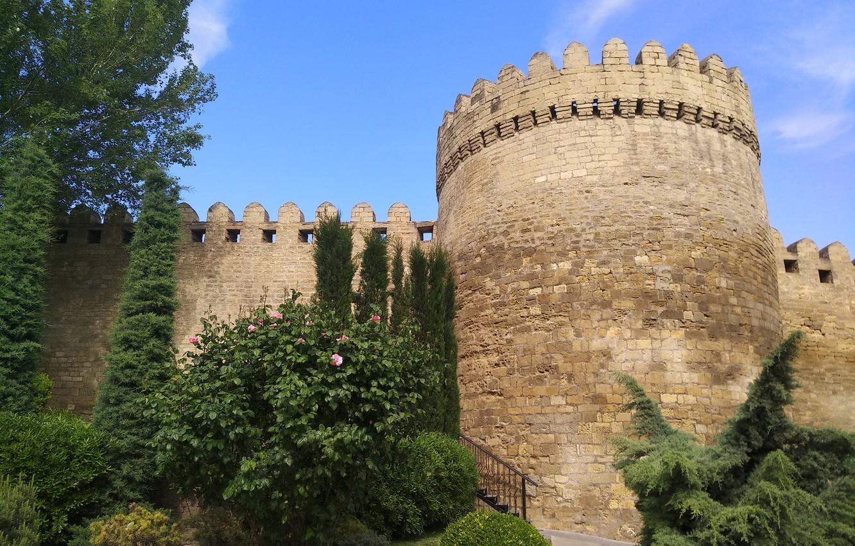 Фото обои Башня, Крепость, Азербайджан, Azerbaijan, Baku, Баку