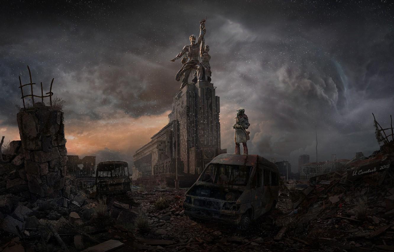 Фото обои Тучи, Апокалипсис, Москва, Разрушения, Art, Igor Solovyev, Apocalypse art, by Igor Solovyev