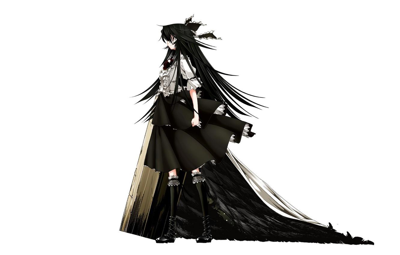 Фото обои черные волосы, Reiuji Utsuho, черные крылья, Touhou Project, Проект Восток, by Shachiku