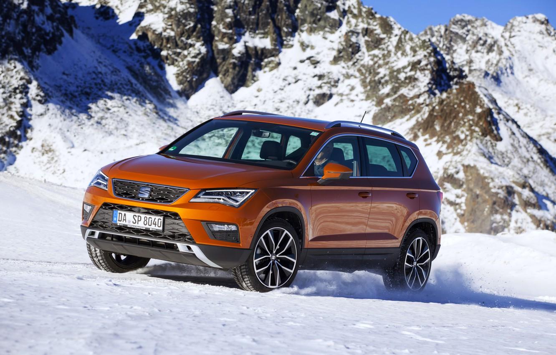 Фото обои снег, горы, SUV, Seat, 2017, 4Drive, Ateca