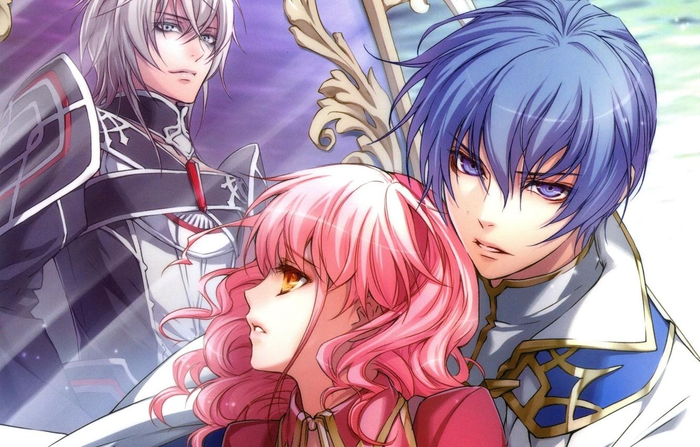 Фото обои трое, art, розовые волосы, wand of fortune, lulu, visual novel, kagerou usuba, julius fortner, жезл …