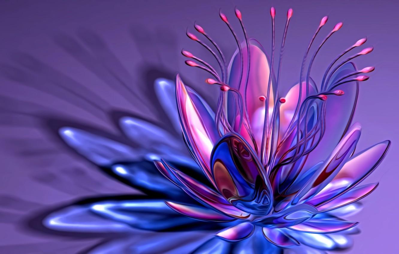 Фото обои линии, абстракция, рендеринг, фантазия, лепестки, изгибы, тычинки, сиреневый фон, причудливый цветок
