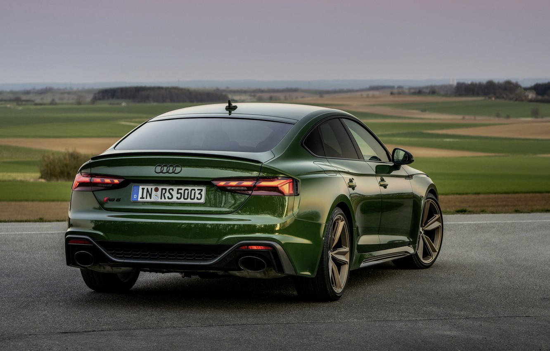 Фото обои Audi, зелёный, задом, RS 5, 2020, RS5 Sportback