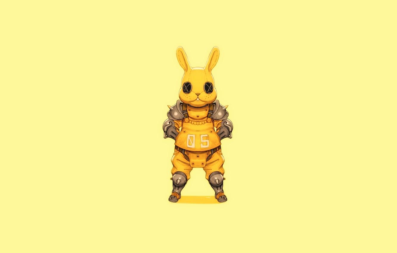 Фото обои Art, Minimalism, Characters, Bunny, Ren Wei Pan, Bunny guard