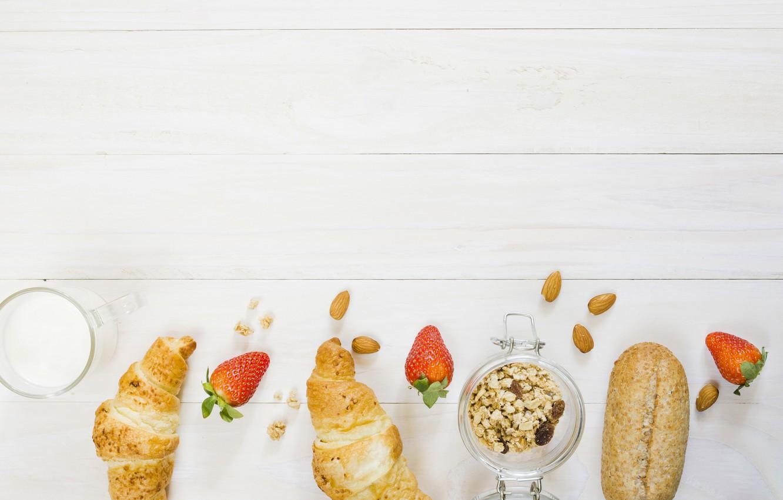 Фото обои ягоды, завтрак, хлеб, йогурт