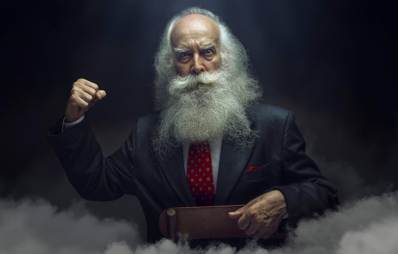Фото обои взгляд, дым, дед, борода