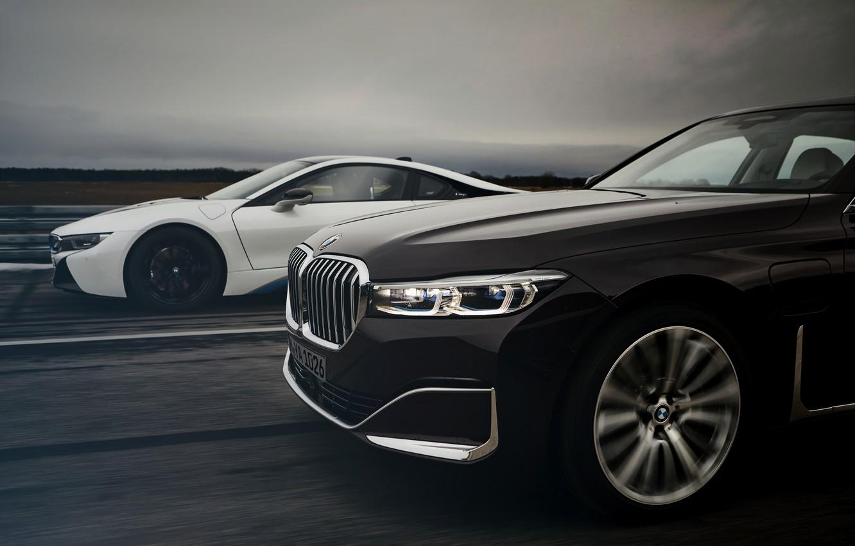 Фото обои купе, BMW, седан, гибрид, передняя часть, четырёхдверный, G12, i8, 7er, 7-series, 2019, удлинённая колёсная база, …
