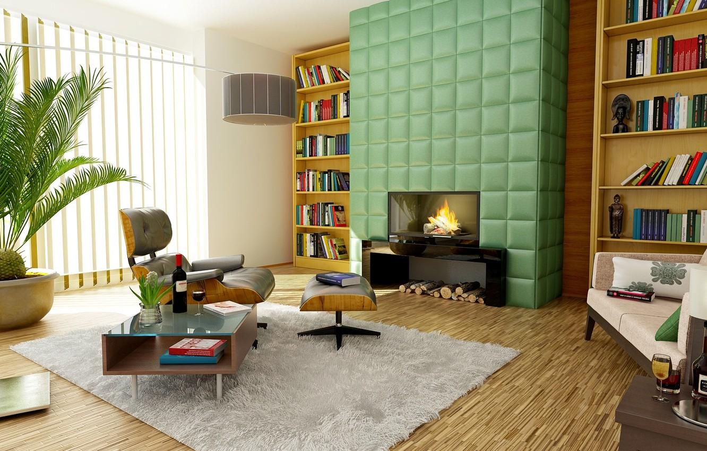 Фото обои дизайн, комната, интерьер, ковёр, кресло, камин, столик, полки