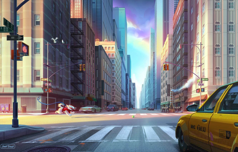 Фото обои Дорога, Собака, Город, Улица, Бег, Здания, City, Dog, Такси, Нью Йорк, New York, Street, Ball, …