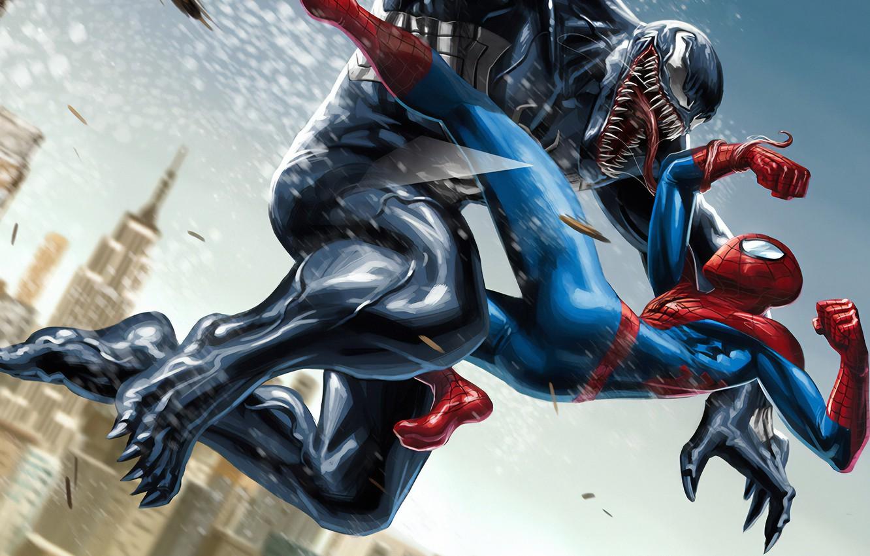 Фото обои Marvel, Venom, Peter Parker, Spider Man, Eddie Brock, Comics Art