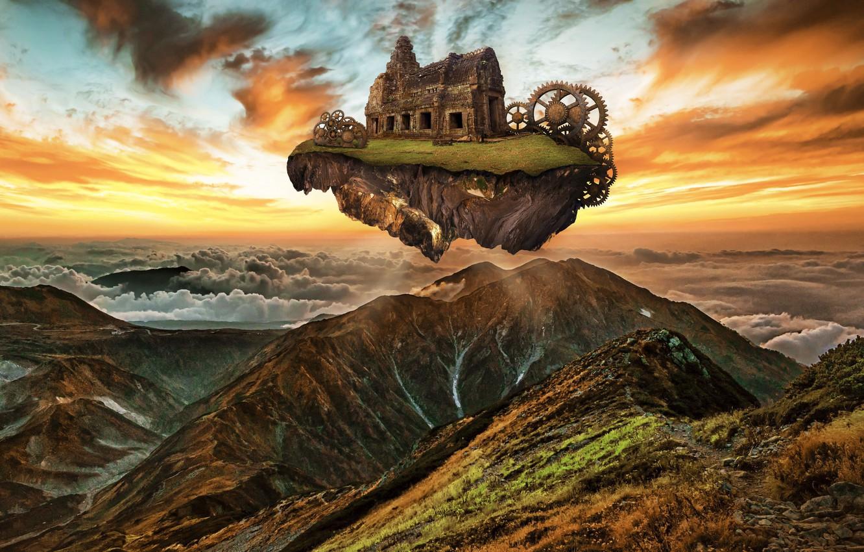 Фото обои небо, облака, горы, красота, простор, развалины, шестеренки, space, sky, mountains, clouds, старый дом, beauty, gears, …
