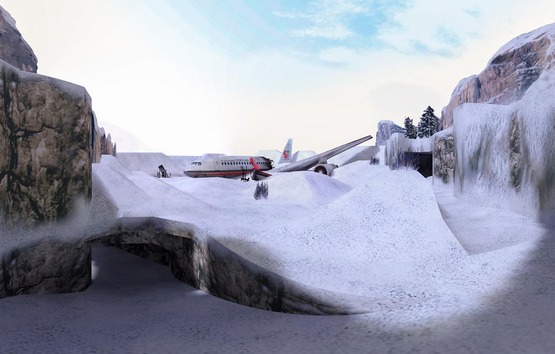 Фото обои снег, snow, Counter Strike, Full HD, Контр Страйк, CS 1.6, de_survivor