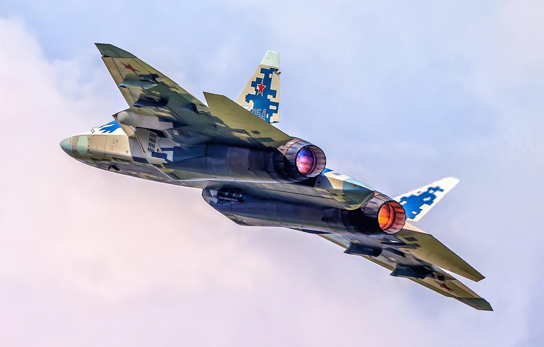 Фото обои многоцелевой истребитель, ВКС России, истребитель пятого поколения, Су-57, Su-57