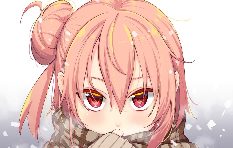 Фото обои взгляд, девушка, шарф, Oregairu