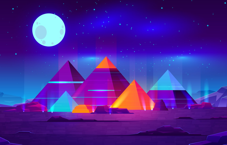 Фото обои Moon, Art, Landscape, Creative, Night, Abstract Art, Pyramids