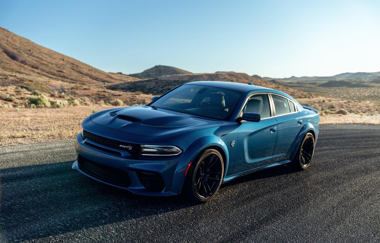 Фото обои машина, движение, холмы, оптика, Dodge, Charger, Hellcat, SRT