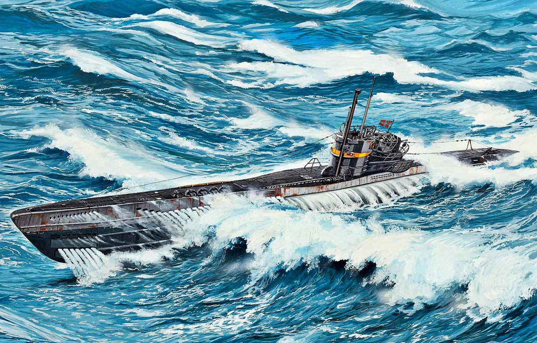 Фото обои волны, Немецкая, Вторая Мировая война, Kriegsmarine, подводнaя лодка, U-boot-klasse VII, U-boot, Type VIIC/41