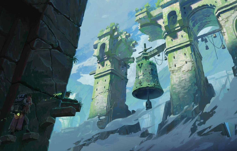 Фото обои fantasy, sky, clouds, man, ruins, digital art, artwork, fantasy art, bell, lantern, stairs, Tower, backpack