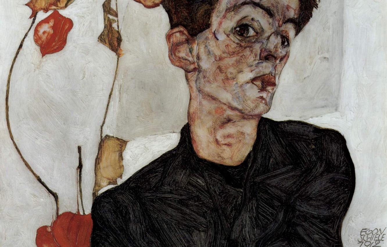 Фото обои Автопортрет, Egon Schiele, с цветами фонариками