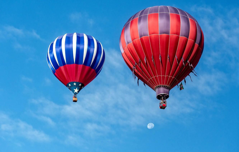 Фото обои небо, воздушные шары, шары, луна