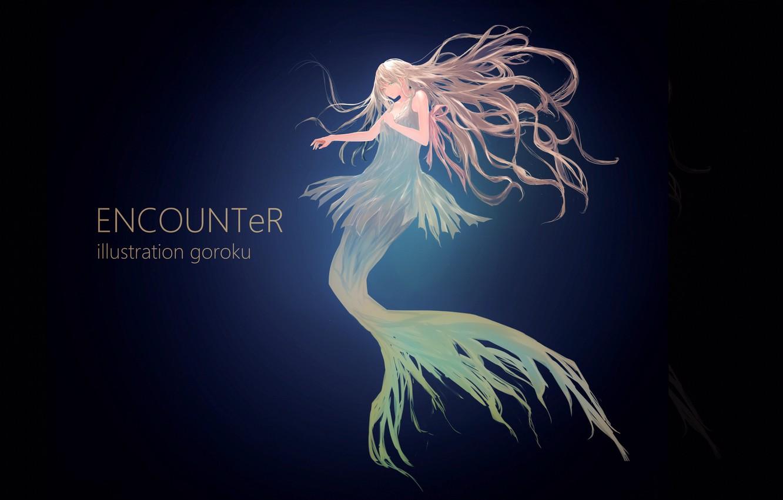 Фото обои девушка, русалка, аниме, арт, под водой, goroku
