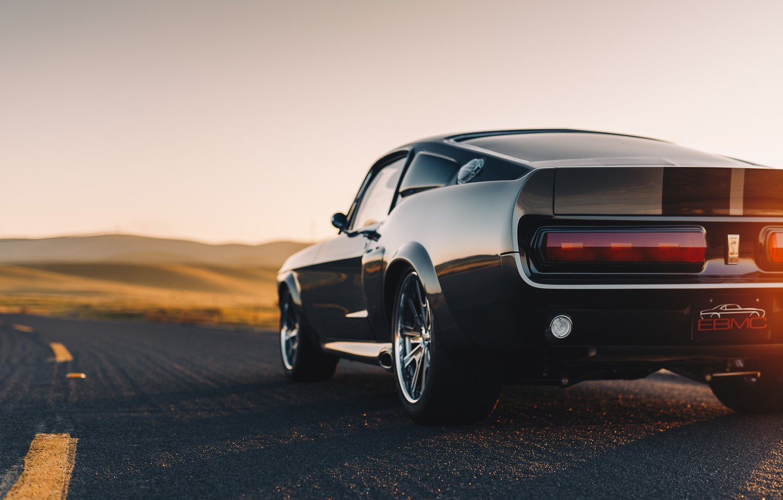 Фото обои дорога, Shelby GT500, Ford Mustang, вид сзади, muscle car, Shelby Mustang