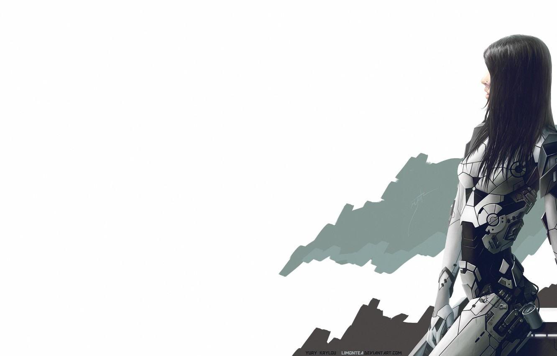 Фото обои Девушка, Минимализм, Белый, Girl, Фон, Меха, Art, Киборг, Concept Art, Characters, Nano, Cyber, Science Fiction, …