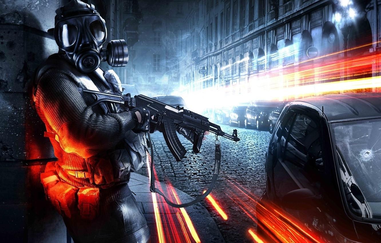 Фото обои battlefield, stalker, battlefield 3, ak47, gasmask