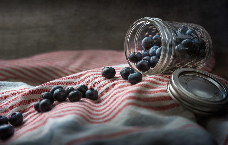 Фото обои ягоды, фон, банка