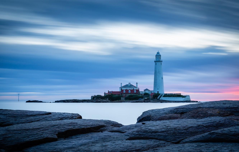 Фото обои море, природа, Небо, Маяк, Камни