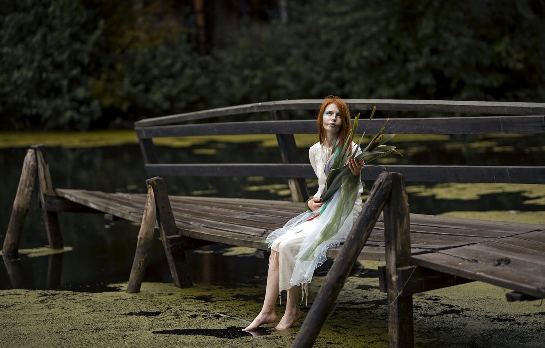 Фото обои девушка, мост, река