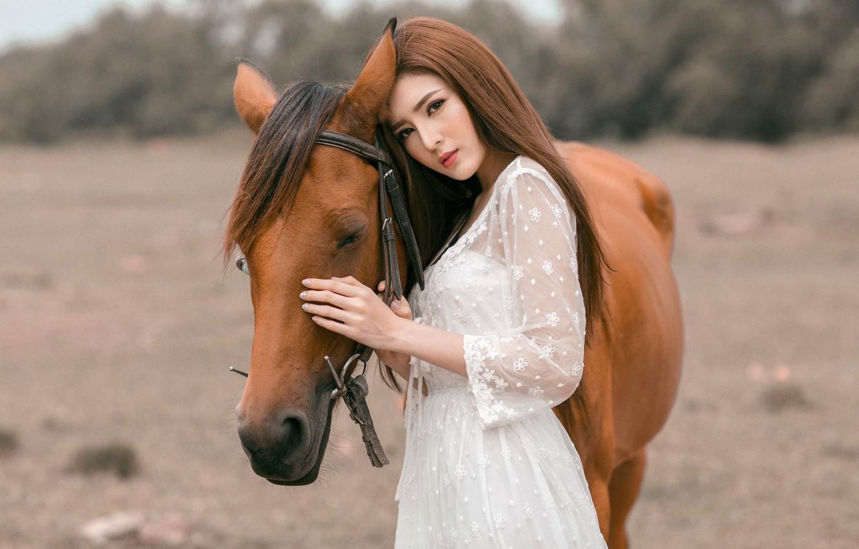 Фото обои глаза, взгляд, морда, девушка, природа, лицо, фон, друг, конь, лошадь, портрет, руки, дружба, профиль, шатенка, …