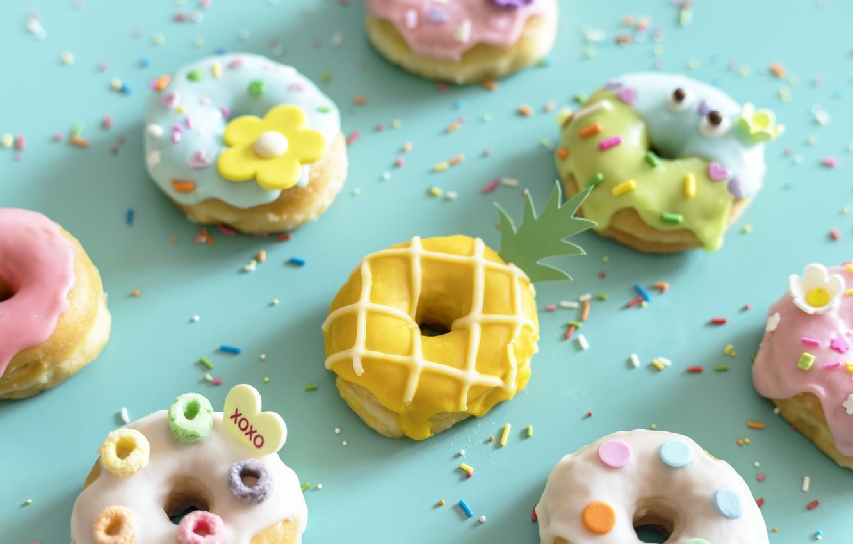 Фото обои colorful, пончики, глазурь, donuts