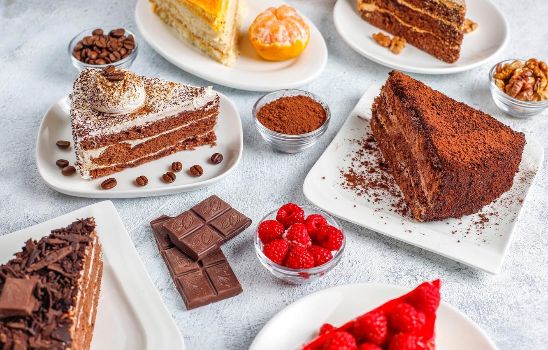 Фото обои ягоды, малина, шоколад, тортики