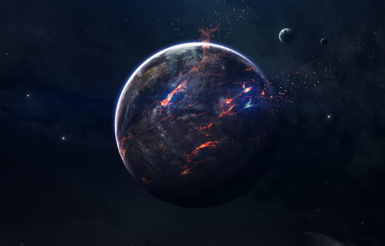 Фото обои Звезды, Планета, Космос, Осколки, Пламя, Арт, Stars, Space, Art, Спутник, Flame, Planet, Satellite, Lava, Пространство, ...
